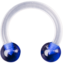 Acrylic Clear Circular Barbell with Blue Acrylic Balls