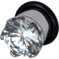 Surgical Steel Clear Jewelled Crown Plug